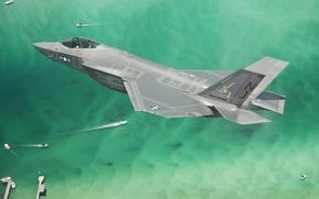 Picture sea, flight, fighter, bomber, Lightning II, F-35C, Lockheed Martin