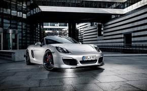 Picture Auto, The city, Porsche, Convertible, Grey, Silver, The hood, Lights, Porsche, The front, Boxter
