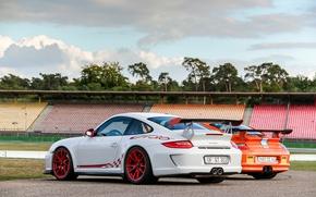 Picture white, trees, orange, Porsche, white, Porsche, track, gt3, tree, orange, track, back, GT3