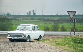 Picture white, USSR, car, classic, 412, Muscovite, AZLK, Mosa
