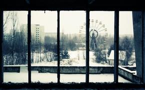 Wallpaper snow, window, carousel, home, trees, Pripyat, area