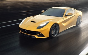 Picture Berlinetta, F12, Yellow, Ferrari, Sun, Road, Speed, Front, Rain