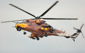 Picture flight, helicopter, coloring, combat, Mi-24