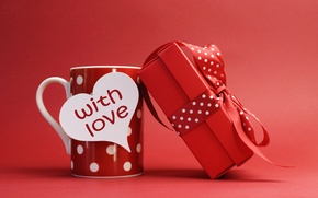 Picture gift, romance, heart, bow, Cup, Valentine's day, now, cup, hearts, present, Valentine's Day, gift, bow, …