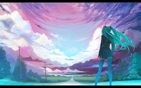 Picture road, girl, Vocaloid, long hair, Vocaloid, Miku hatsune