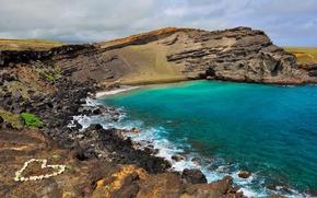 Picture stones, the ocean, coast, heart, Hawaii, Hawai
