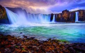 Picture Landscape, rocks, stones, Waterfall
