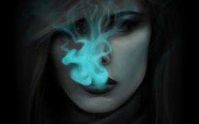 Picture girl, smoke, anime, art, axis powers hetalia and axis countries, hetalia, mochifin, netherlands