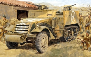 Picture figure, soldiers, Half Track, M2A1, half-track armored personnel carrier USA, Personnel Carrier
