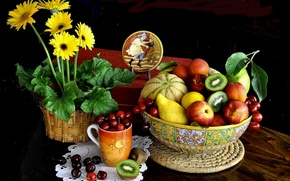 Picture bowl, flowers, table, Cup, melon, berries, still life, fruit