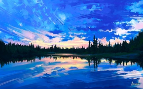 Picture the sky, water, clouds, trees, reflection, art, painting, nature. landscape