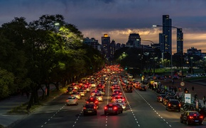 Picture twilight, cars, Argentina, night, rush, people, dusk, traffic, skyscrapers, cityscape, Buenos Aires, everyday life, urban …