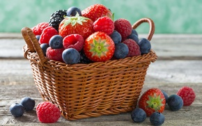 Picture berries, raspberry, basket, strawberry, blueberries