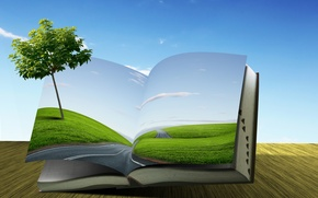 Picture road, creative, tree, field, book