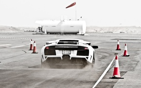 Picture white, track, dust, the fence, white, lamborghini, murcielago, lp640, Lamborghini, Murcielago, cones