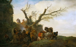 Picture landscape, people, picture, wagon, genre, Attack on a group of travellers, Philips Wouwerman