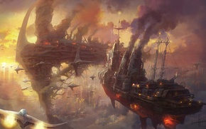 Picture clouds, sunset, the city, smoke, ships, art, steampunk, Armada, in the sky, Minseub Young