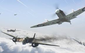 Picture aircraft, war, spitfire, airplane, aviation, ww2, dogfight, ju-88