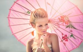 Picture umbrella, girl, Julia Altork, Fille en Rose