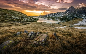 Picture grass, clouds, mountains, lake, sunrise, stones, Bulgaria