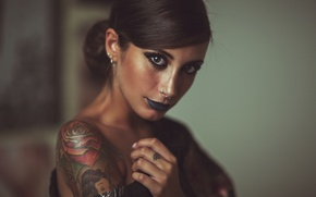 Picture look, girl, face, style, tattoo