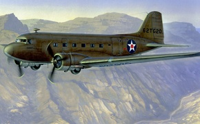 Picture art, airplane, painting, Douglas C-47 Skytrain
