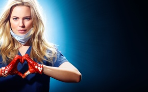 Picture girl, background, blood, hands, blonde, gloves, headband, the series, gesture, Heartbeat, TV Series, Melissa George, ...