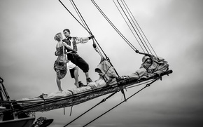 Picture love, couple, cloudy, sailing, sail