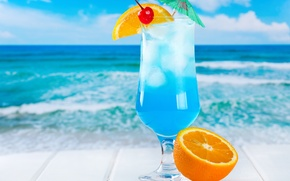 Picture ice, sea, beach, cocktail, fruit, fresh, blue, orange, drink, cocktail, fruits, tropical, curacao