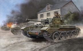 Picture gun, art, tank, game, the, British, mark, average, caliber, Cruiser, Flames of War, cruising, WW2., …