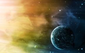 Picture light, stars, planets, colour, sci fi