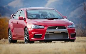 Picture auto, red, Wallpaper, mitsubishi, lancer, evo x