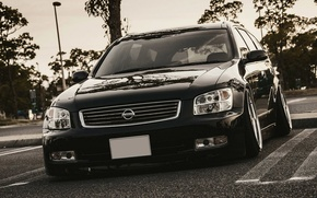 Picture Machine, Tuning, Black, Nissan, Japan, Nissan, Black, Style, Tuning, Stance, Stagea