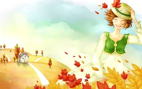 Wallpaper the wind, leaves, figure, house, mood, girl, autumn, hat, track