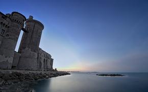 Picture sea, landscape, night, castle