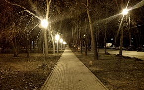 Picture Night, The city, Street, Lights, The sidewalk, Square