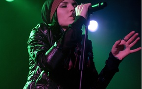 Picture girl, music, hat, mouth, microphone, singer, grey, sings, Skylar Grey, Holly Brook, micro