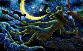 Picture cat, black, the moon, eshka, broom, grandma