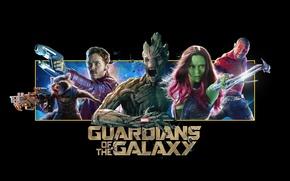 Picture Vin Diesel, Bradley Cooper, Rocket, destroyer, Zoe Saldana, raccoon, Guardians Of The Galaxy, Peter Quill, …