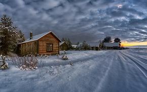 Wallpaper house, snow, winter