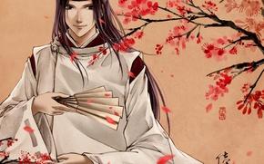 Wallpaper flowers, smile, tree, spirit, fan, art, Anime, guy, Anime, Fujiwara no Sai, Hikaru no Go