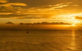 Picture twilight, sunset, clouds, dusk, ships, harbor, Fuji