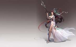 Picture girl, fantasy, weapons, the game, dress, art, halberd