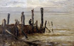 Picture picture, pier, seascape, Carlos de Haes, The sea at Villerville