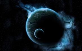 Picture space, nebula, planet, satellite, stars