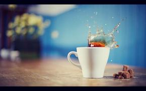 Wallpaper splash, sugar, coffee, Cup