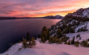 Picture nature, lake, dawn, island, crater, Oregon, national park, Crater lake