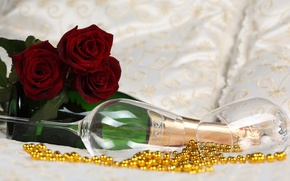 Picture flowers, roses, glasses, champagne