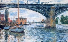 Wallpaper landscape, the city, boat, picture, Claude Monet, The bridge at Argenteuil. Overcast