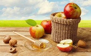 Picture basket, apples, honey, nuts